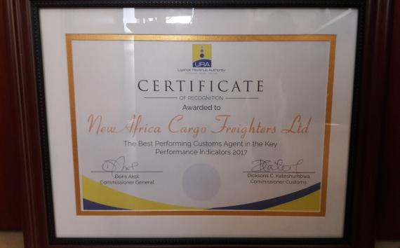 New Africa Cargo Freighters Awarded by Uganda Revenue Authority